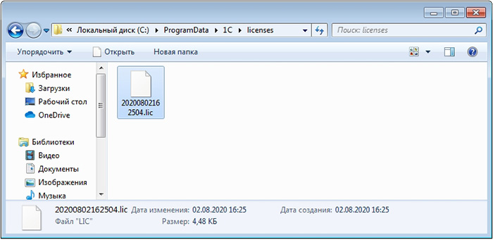 Где храниться файл с программной лицензией 1С