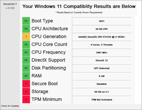 Совместимость компьютера с Windows 11